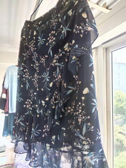颜域网纱半身裙中长款不规则雪纺印花荷叶边短裙品牌新款10S8334 蓝花 M 晒单图