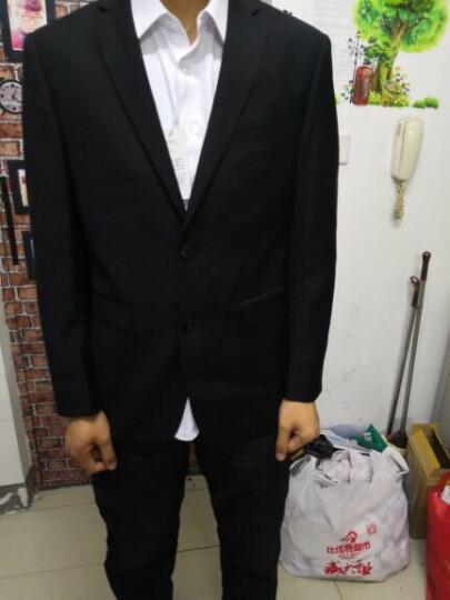 霸王车男士西服套装修身免烫商务休闲职业正装西装男套装新郎结婚礼服男 1068黑色(后中开衩) 175码套装 晒单图