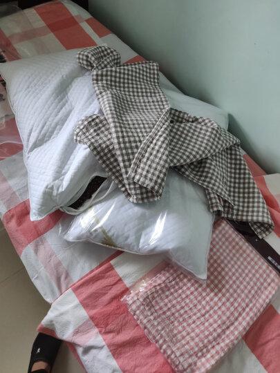 纯棉枕巾一对装无荧光剂三层纱布小格子枕头巾成人情侣日式枕头毛巾 小小格咖色1条+粉色1条 晒单图