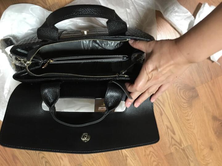 朱尔女包新款真皮女包 欧美时尚鳄鱼纹头层牛皮手提单肩包 女士斜挎潮流包包 HX-5039黑色 晒单图
