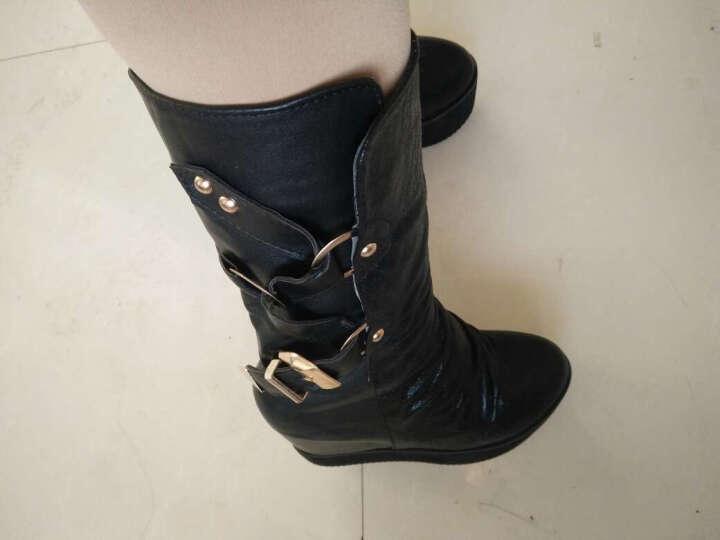 古芊 2017秋冬女靴厚底高筒靴女隐形内增高松糕坡跟长筒靴长靴子 白色 37 晒单图