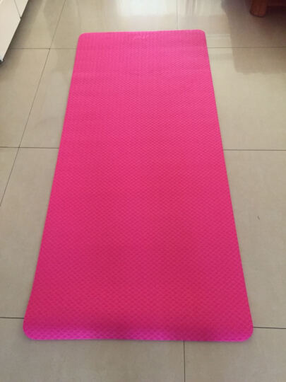 IKU瑜伽垫TPE 加厚8mm加宽防滑健身垫 183cm/80cm仰卧起坐垫 粉色 晒单图