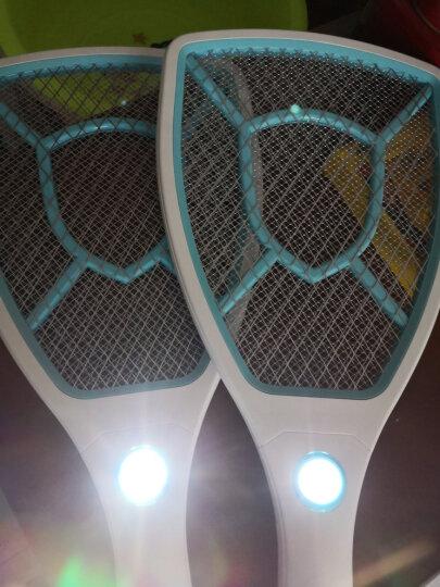 雅格电蚊拍USB充电式锂电池带LED灯灭蚊拍大网面强力电蚊拍可换电池 5617绿色+驱蚊贴+清洁刷 晒单图