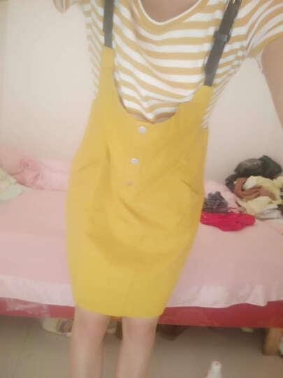 芳帛牛仔连衣裙2018夏季新款韩版chic中长款裙子背带裙短袖套装女 黄色 L 晒单图