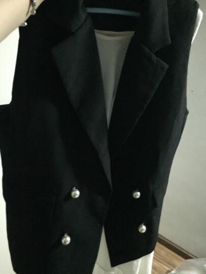 Annibycn职业套装女西装套装夏季韩版时尚气质休闲面试西服无袖马甲喇叭裤两件套装 黑色 M 晒单图