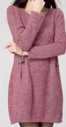 瑞美芙 加肥加大码女装秋冬长袖修身针织连衣裙胖妹妹胖人女装显瘦款打底裙YF38 红色 2XL 晒单图