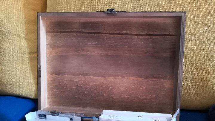 2019新品木质老木盒子带锁做旧收纳盒复古大木箱子小木箱家居家装收纳用品整理盒子储物盒置物 海蓝铁塔 超大44*29*18CM 晒单图