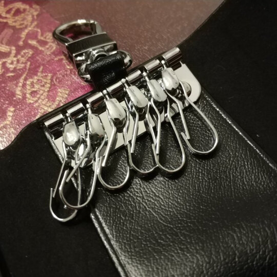 博牌(BOPAI)汽车钥匙包 男士牛皮腰挂钥匙扣 多功能车锁匙包腰匙包女玫红色16-00705 晒单图