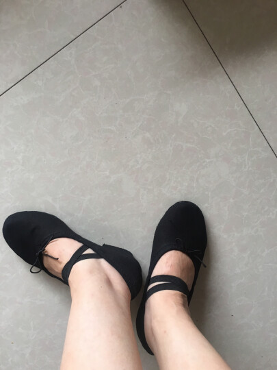 幻巧 帆布教师鞋 带跟练功鞋 软底跳舞鞋 瑜伽鞋 中跟女士民族舞蹈鞋 黑色帆布教师鞋 37 晒单图