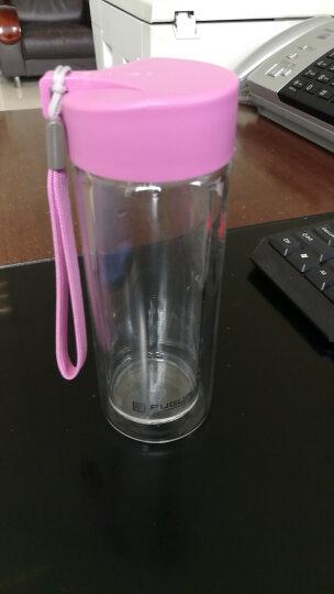 富光 便携带茶隔玻璃杯 糖果色创意情侣水杯子 双层隔热玻璃水杯泡茶杯 350ml 草绿(G1311-350) 晒单图
