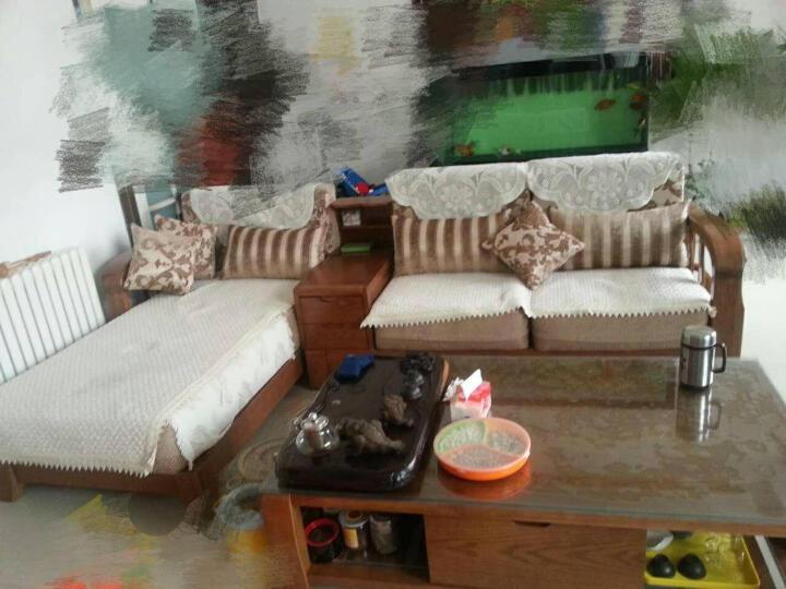 裕木源 沙发 实木沙发组合中式布艺转角贵妃沙发 现代客厅沙发白蜡木 组合2( 三人位*储物柜*贵妃椅) 2.87m 晒单图