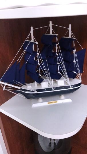 一帆风顺帆船摆件地中海手工木制工艺品帆船模型摆设玄关家装饰品 彩盒装 33cm蓝帆船 晒单图