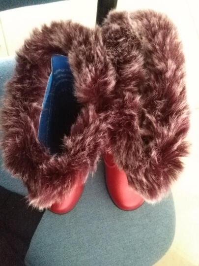 snoffy2017冬季女童靴子韩版新款加绒真皮中大童短靴棉鞋中高筒雪地靴时尚公主大棉保暖 粉色 26码/实测鞋垫长16cm 晒单图
