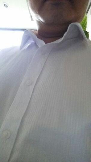 罗撒免烫修身白衬衣男士长袖衬衫商务西装寸衫新郎结婚伴郎礼服正装定制LOGO工作服 白色间条8137 38 晒单图