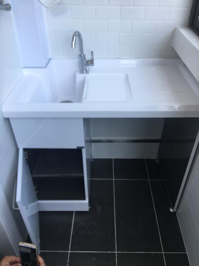 格雷诺 不锈钢滚筒洗衣机柜带搓板阳台洗衣机柜石英石洗衣池盆浴室柜组合 白色柜/1.1米左白盆 晒单图