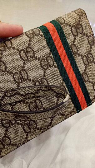 雷昂LEIANG 女士长款钱包 经典复古手拿包 新款百搭钱包 多功能卡位钱包女 GD纹彩条咖啡手带版 晒单图