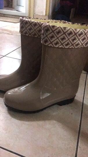 伊琳芬妮 冬季加绒雨鞋女士中筒保暖雨靴女式休闲水鞋中筒加棉胶鞋  NS805 蓝色加皮套 37 送鞋垫 晒单图