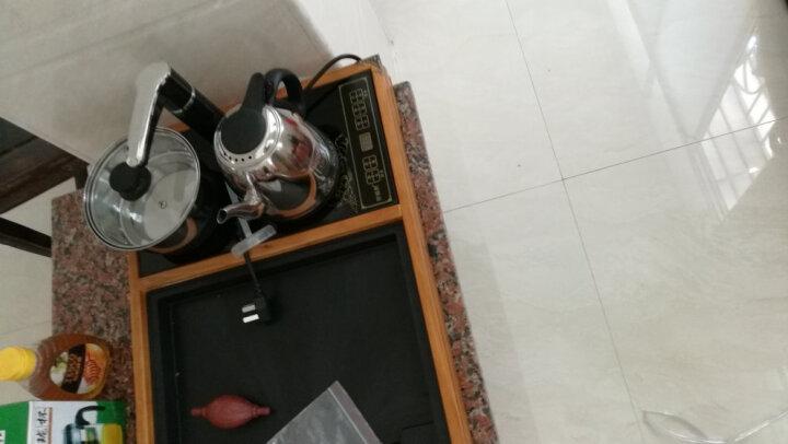 梅兰竹菊【荷花悟茶】大号木质茶盘茶海柯木茶台功夫茶具实木托盘排水带自动电磁炉一体茶道套装 原木色悟茶单茶盘带电热炉 晒单图