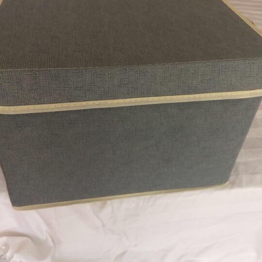 点魅 仿麻收纳箱两件套衣服整理箱子大小号 带盖收纳盒储物箱 折叠百纳箱 米白色 晒单图
