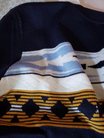 kikc毛衣男春秋新款韩版菱形印花圆领修身时尚休闲长袖针织衫线衣 深蓝 170/M 晒单图