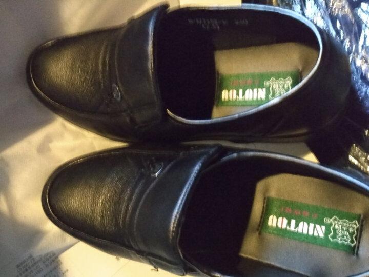 牛头牌男皮鞋NT77252男式头层牛皮真皮日常商务休闲正装透气皮鞋 黑色 38 晒单图