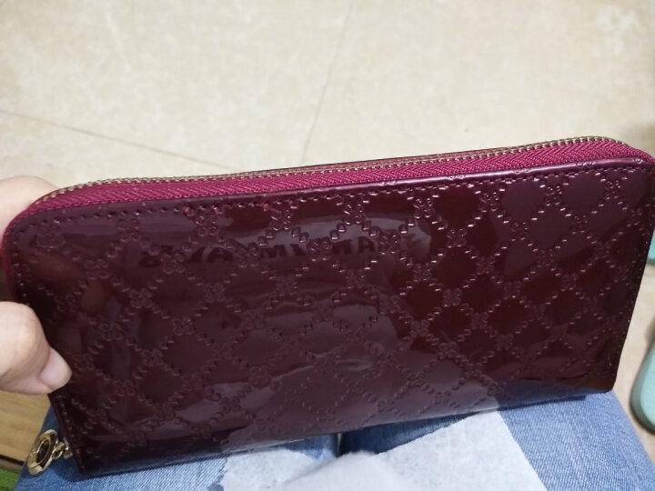 诗薇儿(Svale)女士钱包牛皮长款糖果色漆皮菱格手拿包14-30681V紫色 晒单图