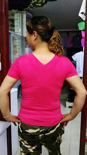 短袖莫代尔广场舞服装夏季新款中老年上衣修身V领圆领舞蹈服女 黑+紫色(后圆领) 4XL 晒单图