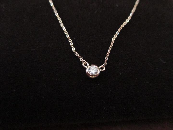 珂兰  钻石项链 18K金显钻闪耀钻石吊坠项坠天使光环 定制T 共10分/2颗 耳钉 晒单图