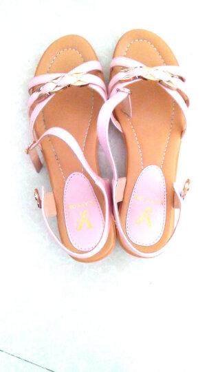 意尔康凉鞋夏季通勤中跟平底女凉鞋舒适休闲坡跟凉鞋女7353ZL29929W 粉红 39 晒单图