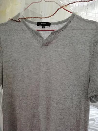 Brloote/巴鲁特男士纯棉短袖T恤 男夏季休闲小V领时尚修身简约体恤衫 浅灰色 170/92A 晒单图