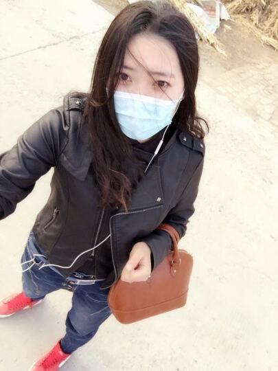 简宜雅2017春秋新款女装皮衣女短款修身立领机车皮夹克外套 黑色 XL 晒单图