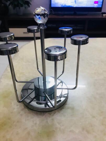 豪斯特丽(HOSTLY)不锈钢水杯架 创意酒杯架 时尚茶杯架 6头旋转倒挂杯架 杯架+波米欧利钻石杯绿色390ML*6 晒单图