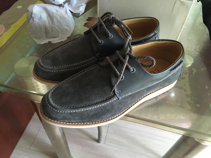 哈森旗下卡文 休闲男鞋圆头系带反绒牛皮软面男士皮鞋 CA34131 深灰色 41 晒单图