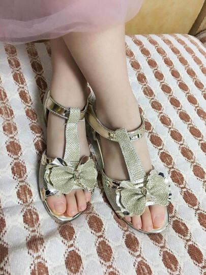 桃涩 女童凉鞋夏季新款韩版童鞋公主鞋女大童儿童凉鞋女 TS-G1537 金色 36码/22.5cm 晒单图