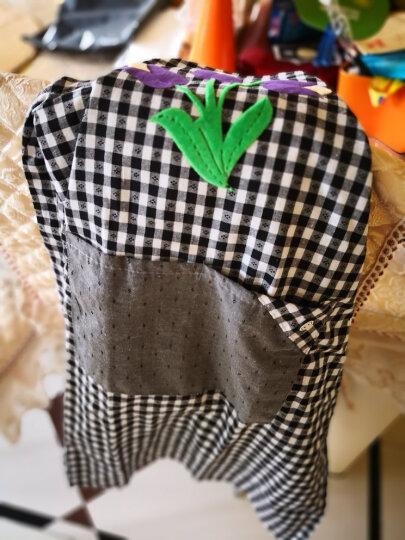 萌碎 韩版时尚长袖围裙 男女成人可爱护衣纯棉罩衣 厨房防水防油反穿衣家用厨房围裙新款围裙 绿叶紫花 黑灰 晒单图