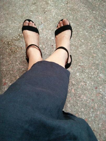 2018新款百搭性感露趾一字带凉鞋女夏粗跟韩版羊皮中跟女鞋简约高跟鞋大码鞋40-41-42 棕色5.5厘米D-7 33 晒单图