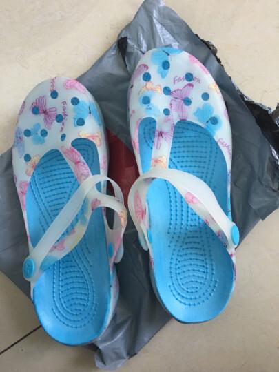 然锋 洞洞女凉鞋 印花凉拖鞋果冻沙滩平底外穿女鞋  RZTX 蝴蝶花-粉色 37 晒单图
