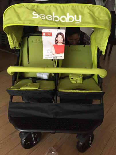 圣得贝 seebaby 双胞胎 婴儿手推车 可坐可躺 折叠双人 二胎神器 宝宝 儿童 双人推车T22 经典款苹果绿+1蚊帐+2棉垫 晒单图