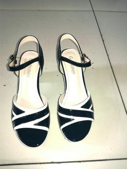 雅诗莱雅凉鞋女 新款粗跟时尚百搭扣带鱼嘴防水台高跟女鞋 B308N20HJ黑色 37 晒单图
