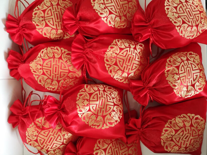 喜糖袋子结婚糖果袋 婚礼婚庆用品装糖果纱袋大小号水果袋  喜糖盒喜糖包装袋创意喜庆袋子 沙袋中号(13*18cm)-50个 晒单图