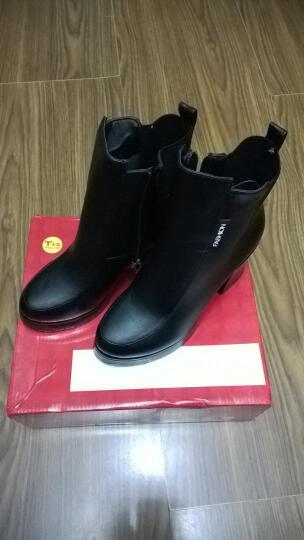 欧靓妮秋冬新款短靴女时尚马丁靴女单靴粗跟女靴厚底机车靴女靴子816 黑色单里 36 晒单图