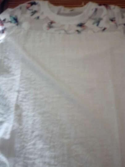 曼桃丝礼 实拍雪纺衫女长袖2018秋季新款上衣甜美遮肚子衬衫小碎花洋气小衫 蓝色 M 晒单图
