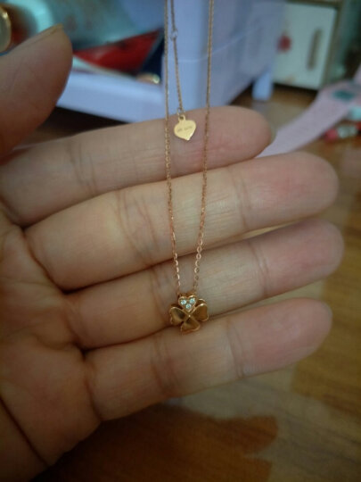 赛菲尔珠宝 钻石项链女款 18K玫瑰金 时尚四叶草套链带吊坠 晒单图