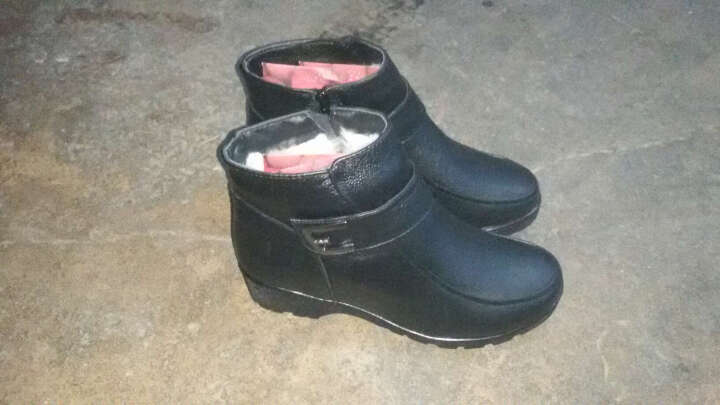 银蝎新款秋冬季牛皮妈妈鞋棉鞋圆头羊毛保暖棉靴女士皮鞋中老年棉鞋 黑色 37 晒单图