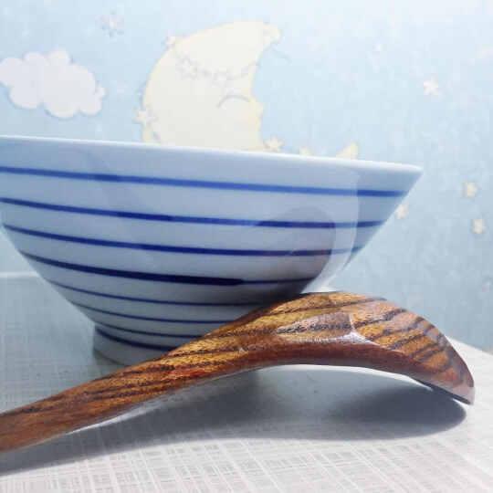 ART UNIVERSE日式防滑大叶樟创意木质龟甲长弯柄大汤勺弯勺长柄沙拉勺 深色 晒单图