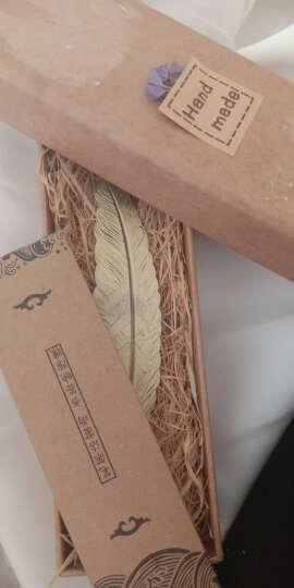 馨颜 古典风金属书签 哈利波特周边复古羽毛书签 创意学生礼品中国风黄铜简约文具礼物 古青铜色 拉菲草礼盒装 晒单图