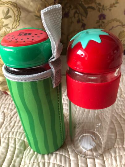 希诺(HEENOOR) 希诺单层玻璃杯 耐热可爱创意杯子水果花茶杯男女儿童便携果汁水杯 西瓜红色 340ML 晒单图
