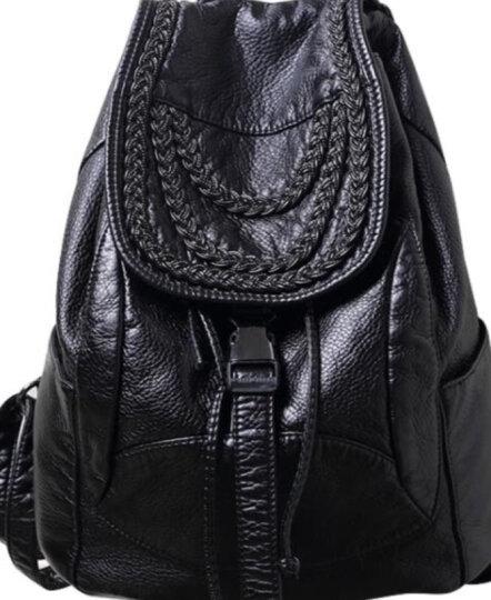 巴铂 双肩包女2018新款日韩风范时尚潮流经典款软皮潮流背包 黑色  编织款(加侧袋) 晒单图