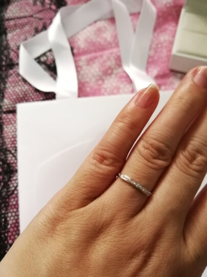 千叶 (KEER)dada钻石系列芊寻18K金钻石戒指AU750群镶钻戒软链戒指可调节指圈 白色 晒单图