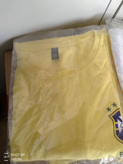 2018俄罗世界杯足球t恤短袖男德国巴西英格兰国家队球迷足球T恤男 球衣套装世界杯标志 黄色巴西 XXL 晒单图